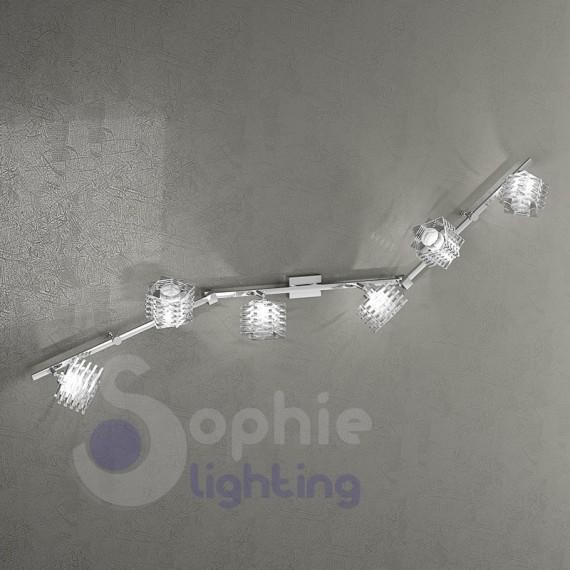 Plafoniera moderna bracci spot faretti orientabili cristallo cubo 6 luci soggiorno