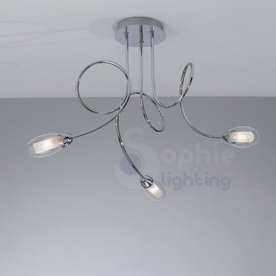 Lampadario moderno soffitto 3 luci bracci arrotondati vetro soffiat...