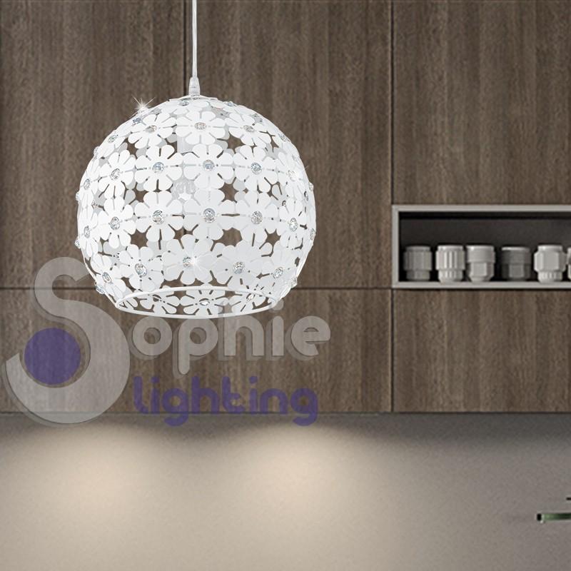 Lampada sospensione fiori bianchi cristallo altezza regolabile diametro 30 cm cucina tavolo penisola