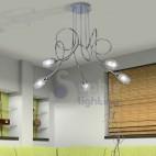 Lampadario moderno 5 luci bracci acciaio cromato vetro satinato soggiorno