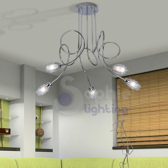 Lampadario moderno 5 luci bracci acciaio cromato vetro satinato sog...
