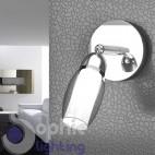 Applique moderno faretto spot orientabile vetro soffiato satinato specchio bagno