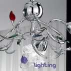 Lampadario moderno foglie cristallo colorato-ADELE-S3
