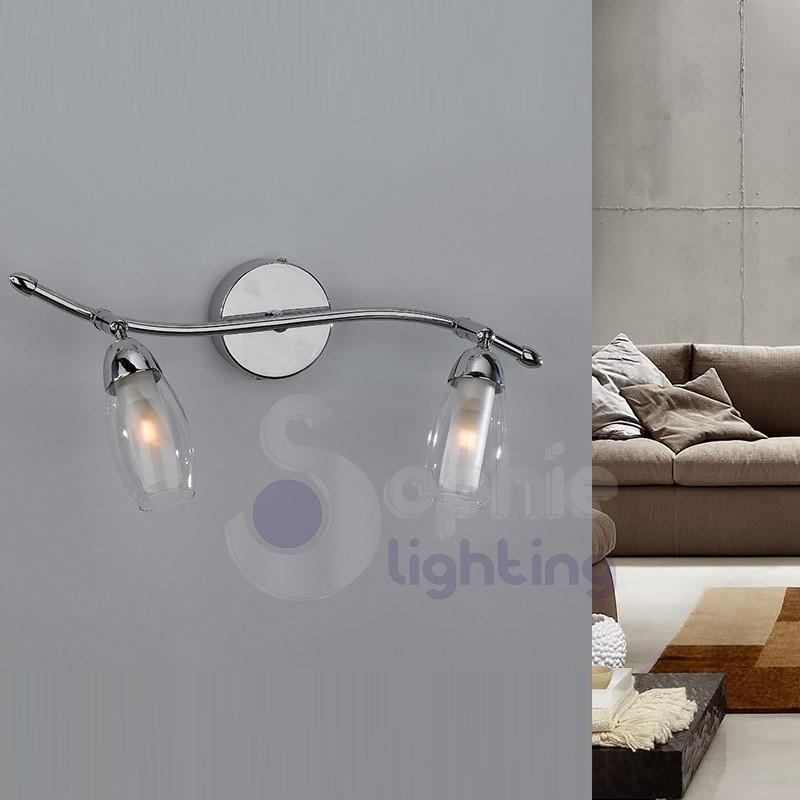 Lampada parete moderna cromata faretti orientabili spot 2 luci 40 cm specchio bagno corridoio