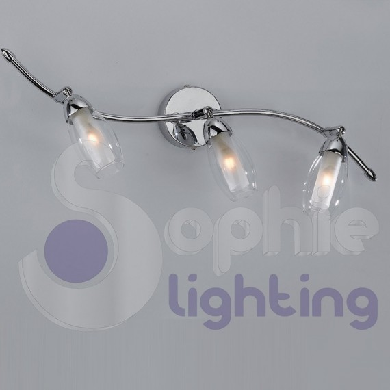 Lampada parete moderna cromata faretti orientabili spot 2 for Specchio 40 cm