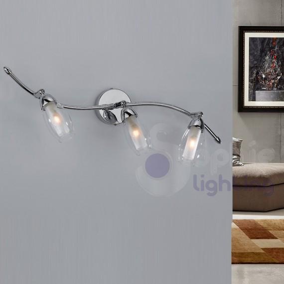 Applique parete bagno specchio design moderno faretti spot orientabili vetro soffiato cromato