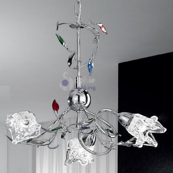 lampadario colorato : ... Moderni > Lampadario moderno foglie cristallo colorato-ADELE-S3