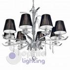 Lampadario moderno contemporaneo 8 luci paralumi neri cristalli acciaio cromato diametro 80 cm