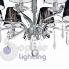 Lampadario moderno contemporaneo acciaio cromo cristalli paralumi neri
