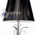 Piantana lampada terra moderna paralume nero cristalli pendenti acciaio cromato soggiorno salone