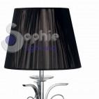 Lume grande moderno elegante tavolo comò paralume nero pendenti cristallo cromato trittico