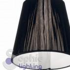 Abat jour moderno contemporaneo cristalli pendenti paralume nero comodino stanza letto