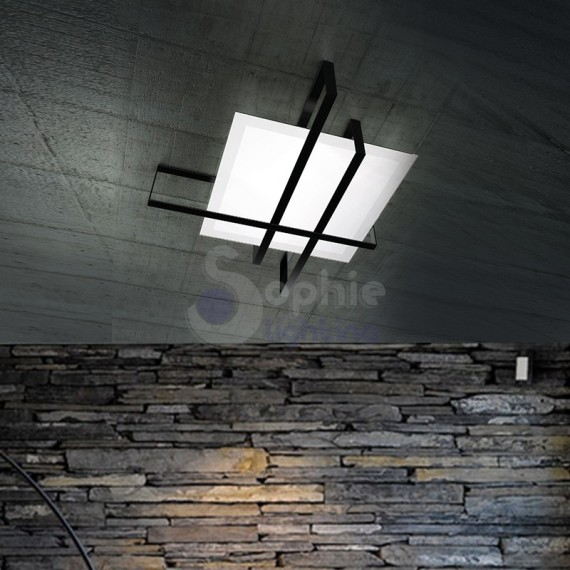 Plafoniera moderna design minimal vetro bianco satinato facie incrociate acciaio nero soggiorno