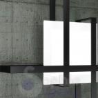 Plafoniera moderna design minimal vetro bianco satinato fasce incrociate acciaio nero soggiorno