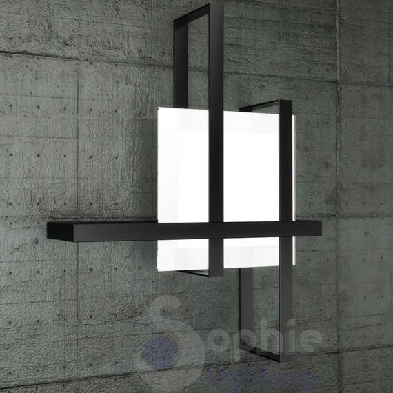 Plafoniera moderna design minimal vetro bianco satinato fasce incro...
