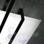 Plafoniera moderna 70 cm design minimalista vetro bianco acciaio nero salone stanza letto