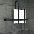 Plafoniera moderna grande 99 cm design moderno minimal acciaio nero vetro bianco satinato soggiorno salone