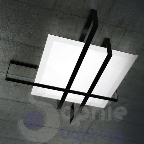 Plafoniera moderna grande 99 cm design moderno minimal acciaio nero - Plafoniera moderna soggiorno ...