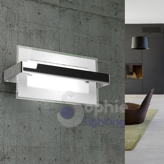 Applique moderno rettangolare acciaio cromato vetro satinato corridoio vano scala