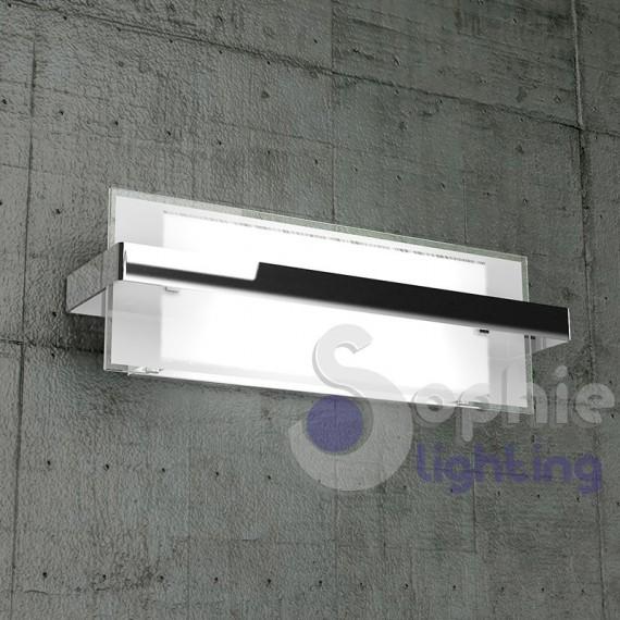 Lampada parete moderna metallo cromato design vetro bianco luce alt...
