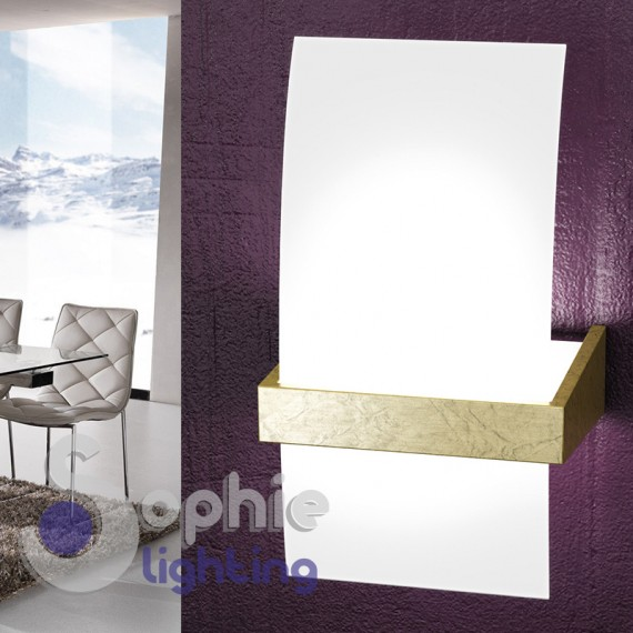 Applique moderno parete design vetro curvo bianco satinato foglia oro