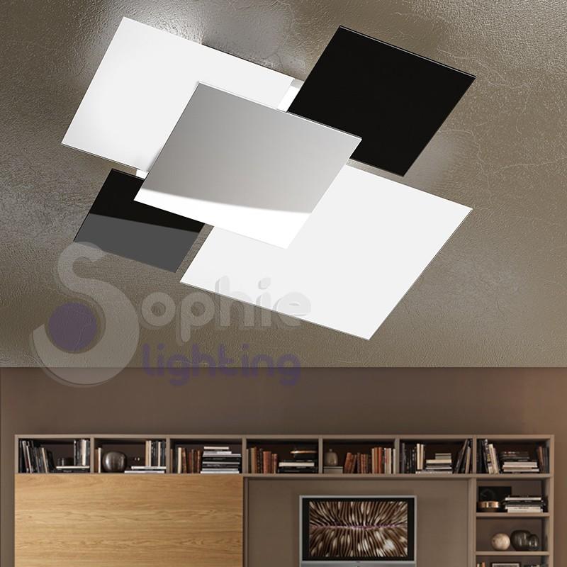 Plafoniera Design Moderno Camera Da Letto.Plafoniera Design Moderno Minimal 4 Vetri Bianco Nero Acciaio Cromato