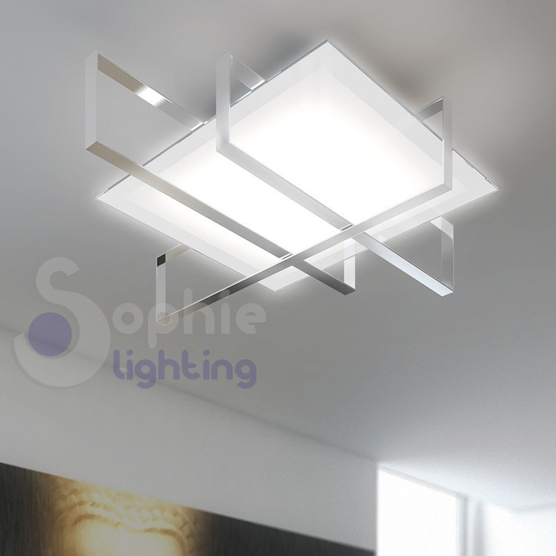 Plafoniera soffitto design moderno acciaio cromo for Design moderno