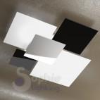 Plafoniera design moderno minimal 4 vetri bianco nero acciaio cromato