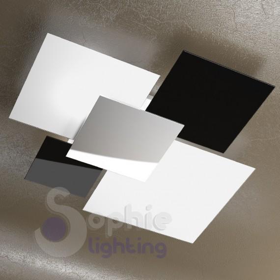 Plafoniera design moderno minimal 4 vetri bianco nero for Plafoniere moderne