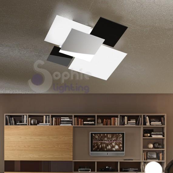 Plafoniera design acciaio cromato vetro bianco nero