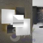 Lampada parete design moderno 4 vetri bianco nero cromo