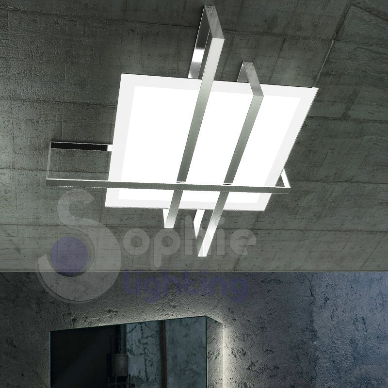 Plafoniera soffitto design minimal acciaio cromato