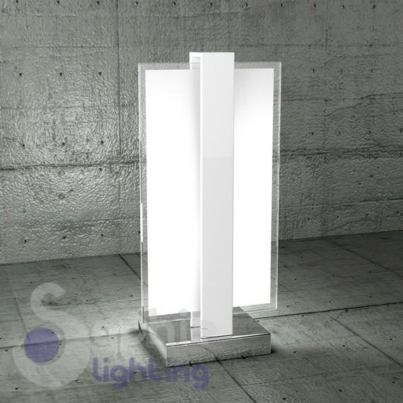 Lampada tavolo abat jour lumetto acciaio cromo bianco vetro satinato - Lampade moderne da tavolo ...