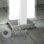 Lampada tavolo abat jour lumetto acciaio cromo bianco vetro satinato