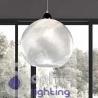 Lampada sospensione moderna acciaio cristallo cucina