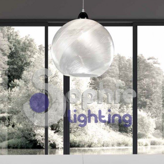 Lampada sospensione regolabile sfera bianco decorato cucina penisola