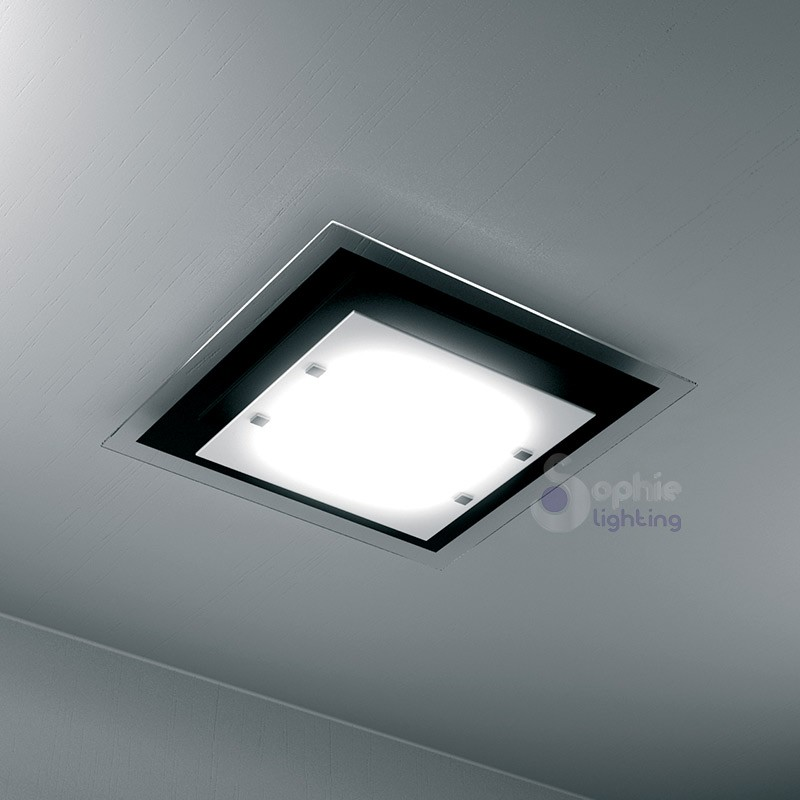 Plafoniera soffitto quadrata design moderno 45 cm vetro nero bianco