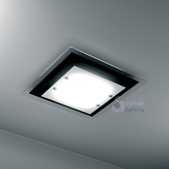 Plafoniera soffitto quadrata design moderno 45 cm vetro for Plafoniere moderne