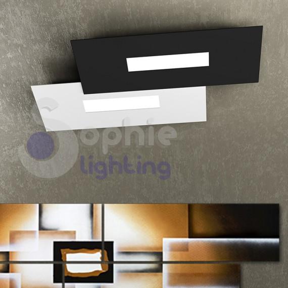 Plafoniera soffitto led design moderno minimal bianco nero for Plafoniere moderne per soggiorno