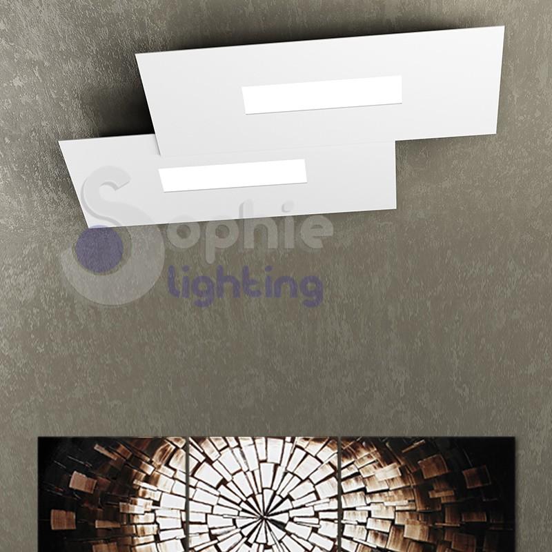 Plafoniera LED luce naturale design moderno bianco 4 colori ingresso