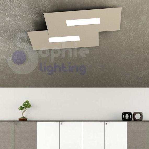 Lampada soffitto LED luce calda 20W design moderno tortora soggiorno