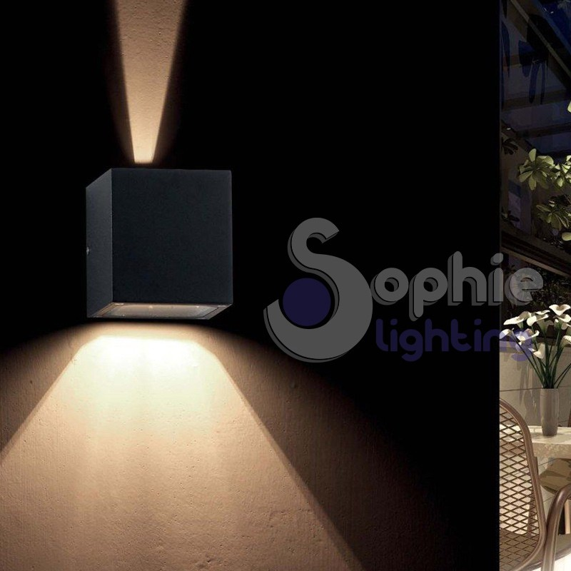 Lampada parete nero esterno patio facciata balcone luce alto basso