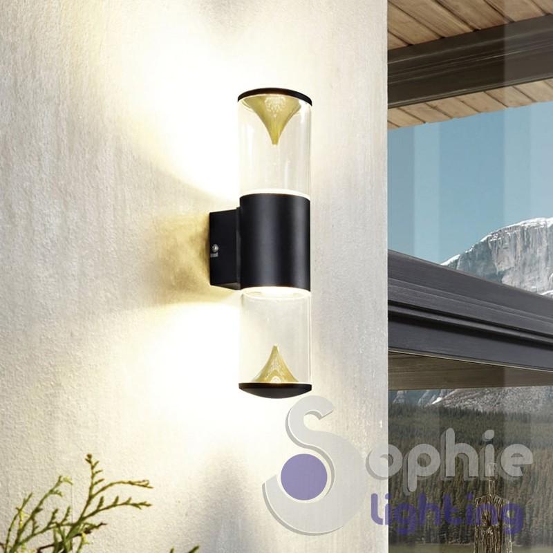 Applique parete LED nero oro esterno facciata balcone luce alto basso