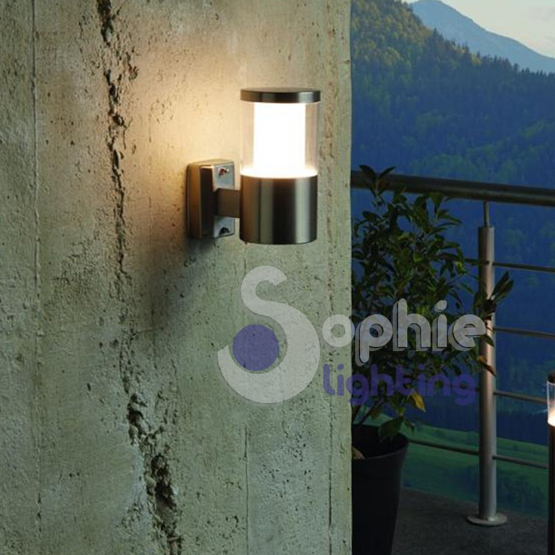 Applique esterno LED luce calda braccio acciaio inox satinato balcone