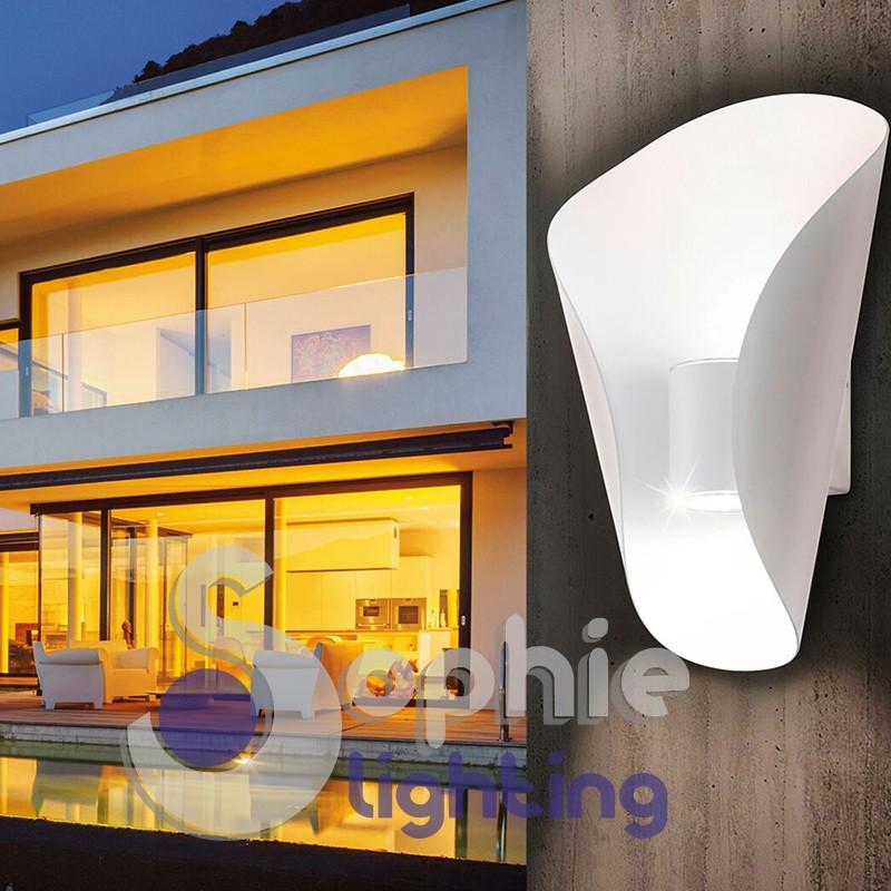Applique parete design led esterno bianco acciaio balconi portico