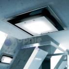 Plafoniera soffitto 60x60 cm design moderno vetro bianco nero salone