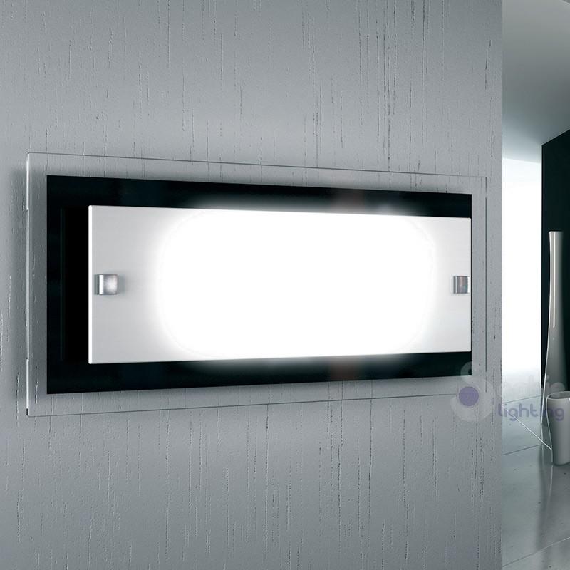 Lampada parete rettangolare 46x20 cm vetro bianco nero minimal bagno