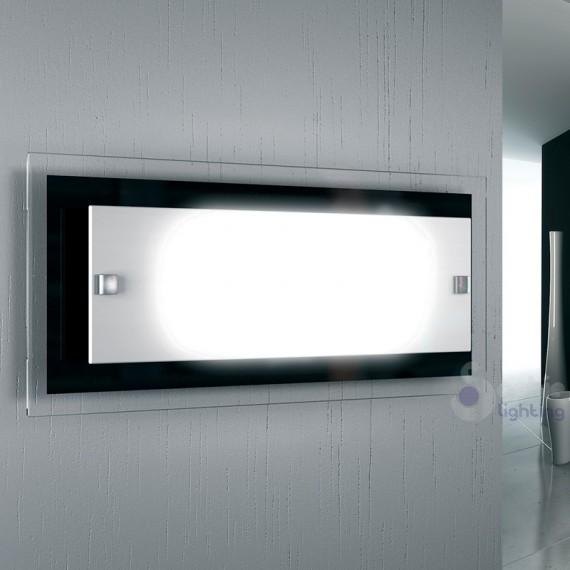 Lampada parete rettangolare 40 x 30 cm vetro bianco nero minimal bagno