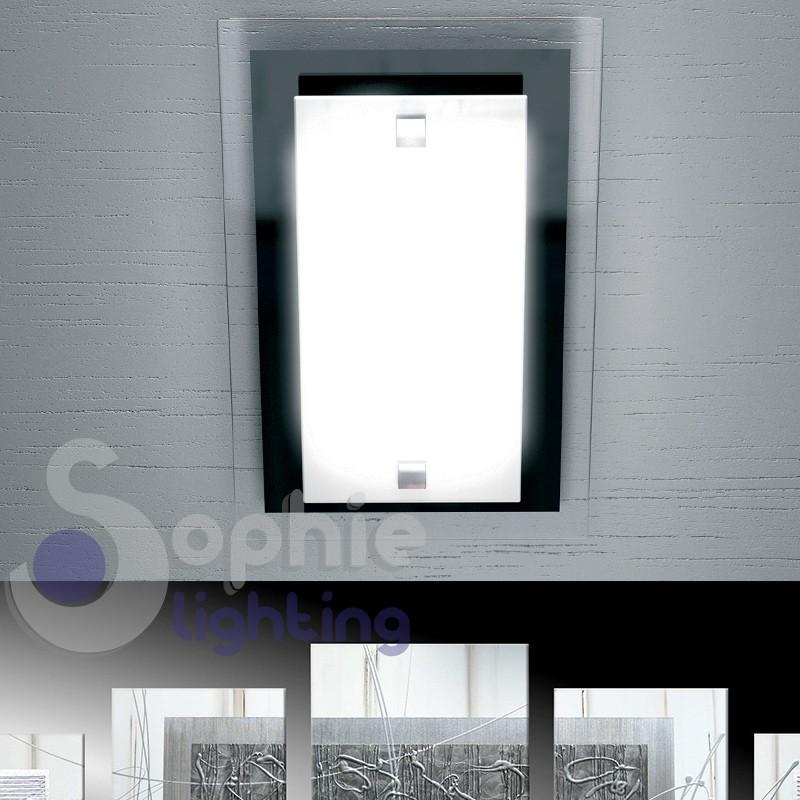 Plafoniera piccola soffitto moderna vetro bianco nero lucido ingresso