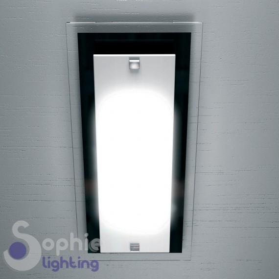 Plafoniera soffitto rettangolare 46x20 cm vetro bianco nero corridoio